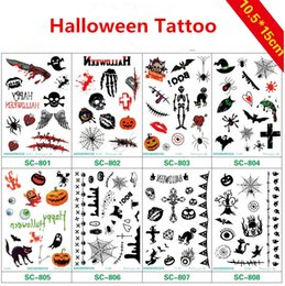 Wholesale Halloween Makeup waterproof Temporary Tattoo desgins Lady s Body Art Halloween Party decoration Pumpkin skeleton stickers