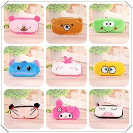Wholesale Stationery Pencil For Children - Cartoon Pencil Case Pen bag Plush animal Pencil Bag for Kids Children School Supplies Korean Stationery 17 design mix up model No. 1609bag33