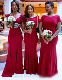 2016 African Maid Of Honor Evening Gowns Red Three Style Mermaid Bridesmaid Dresses For Wedding Floor Length Satin Formal Party Dresses