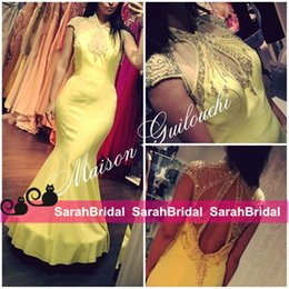Yellow Chiffon Long Prom Dresses Sparkly Rhinestone Crystals Beaded Sexy Keyhole Cut Out Fit and Flare Evening Gowns Plus Size for Sale