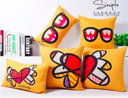 Cartoon Yellow Glasses Hearts Love Warm Massager Decorative Pillow Case Cover Euro Pillows Emoji Home Decor Vintage Gift