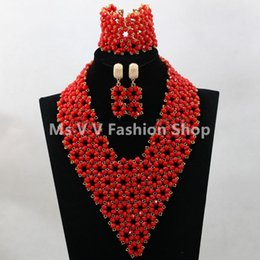 hot sales Best Selling Nigerian Wedding African Beads Jewelry Set Tomato Red African Costume Women Jewelry Set Free shipping