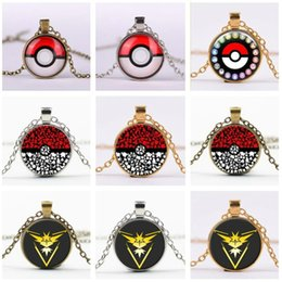 Wholesale Poke Ball Necklaces Vintage Jewellry for Women Men Anime Halder Time Gemstone pokeball Pendant Necklace womens mens Jewelry Christmas Gifts