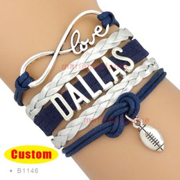 Wholesale Infinity Love Dallas Cowboys Football Team Navy Blue Metallic Silver Cheer bracelets Women Men Girl Lady Jewelry Gift Custom Drop Shipping