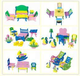 Wholesale Play house toy EVA furniture assembly D house model Building blocks handcraft DIY Bedroom living room chair bed desk kids gift