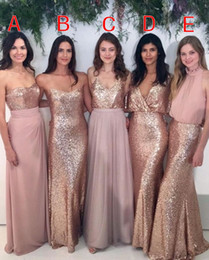 Bridesmaid Dresses Mixed Blush Pink Chiffon with Rose Gold Sequined Floor Length Mixture Styles Country Wedding Party Gowns