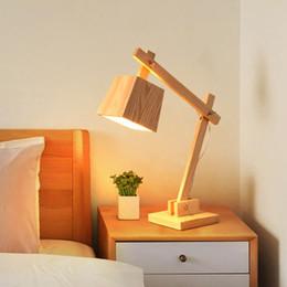 Wholesale Decorative Table Lamp Vintage Wood Read Table Lamp Study Living Room Bedroom V Desk Light Best Gift