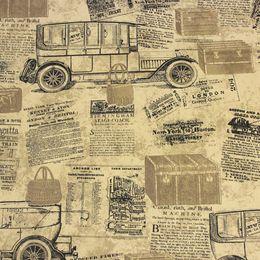 Wholesale Vintage News Papers Cars Brown Vinyl Wallpaper roll papel de parede para sala self adhesive wallpaper papel parede papel contact