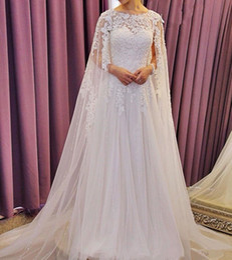 Saudi Arabia Muslim Dubai Wedding Dresses with Cloak Wrap Lace Bridal Gowns robe de mariage Applique Sequins Beading Wedding Gowns