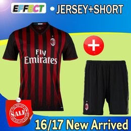 Wholesale 2016 AC MILAN Soccer Jerseys Adult kits EL SHAARAWY MALDINI MENEZ HONDA MONTOLIVO Home men football shirts set with shorts