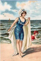 Wholesale Decorative Victorian Edwardian Beach Seaside Scenes Bathing girls Pure Hand Painted Art Oil Painting On Canvas any customized size accepted