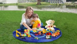 Размеры одеяло Онлайн-2 Размеры Синий Розовый Портативный детей игрушки хранения сумка Easy Fast для младенцев Организатор Повесьте Дети играют Мат Открытый Пикник Одеяло Ковер Водонепроницаемый