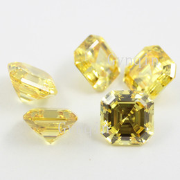 200pcs lot free shipping AAA cubic zirconia yellow asscher cut loose gem stones