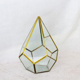 Wholesale Handmade Bonsai Diamond Metal Glass Geometric Terrarium Succulent Fern Moss Tabletop Planter Terrarium Box Micro Landscape