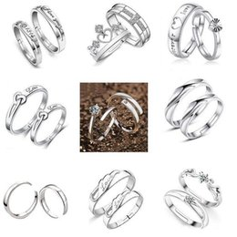Wholesale Top Grade Silver Couple rings Hot Sale Crystal Charms Lovers Band Ring for Wedding Party Jewelry Free Ship WH