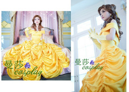 Wholesale Beauty and the Beast Christmas dress Belle cosplay princess yellow dress for girl gothic dress costumes