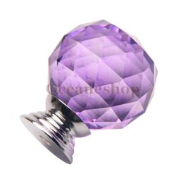 Wholesale OCEA Sphere Light Purple Crystal Single arch Bedroom Modern Furniture Handles