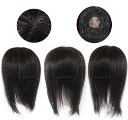 Wholesale 8 quot quot quot straight top closure with bang human hair replacement Brazilian Malaysian Peruvian Indian virgin hair toupee for women