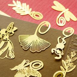 Free shipping 10pcs lot Mini Cartoon Bookmark Gold Color Metal Bookmarks Book School Office Supplies Papelaria