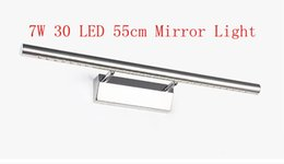 7W Bathroom Mirror Light 30 LED 5050 SMD Warm White Front Light Lamp LED Bath Wall Light Stainless Steel