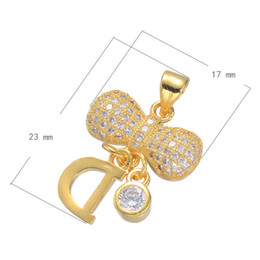 DIY Phone Rope Charm Bow With D CZ Micro Inlay Copper Pendant Plated More Colors For Choice 23x17mm Hole:3.4mm 10PCS Lot