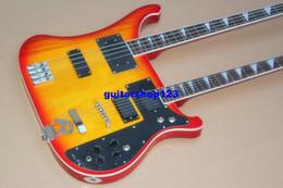 Guitare double goulots à vendre-Top qualité Double cou guitare basse électrique 4 cordes contrebasse et6 guitare blanche cerise noire Guitare électrique Livraison gratuite
