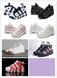 Wholesale Shoes Big Rhinestones - Wholesale Hot Air More UpTempo Retro 2016 Red Black White Rainbow Olympic Scottie Pippen Shoes Big Air High Quality Sneakers Size 7 13