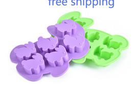 Wholesale Soap Rabbit - HOT SALE 6holes Rabbit Ice Tray Ice Mold Silicone Mold For Ice Soap ice cube bakeware
