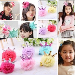 2016 Girl Hair Clips Childrens Accessories Kid Princess Flower Hair Bows Korean Crown Barrettes Baby Girls Barrettes 7 style