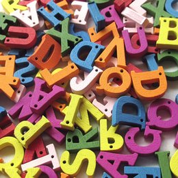Wholesale Mix Color Wood Buttons Alphabet DIY Craft Scrapbook Sewing Appliques