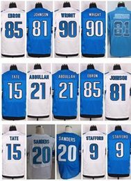 Wholesale 2016 New Lions Elite Jerseys Golden Tate Barry Sanders Ameer Abdullah Matthew Stafford Johnson Blue White Jerseys