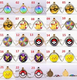 Wholesale Poke Ball Pendant Necklaces Antique Bronze Poket Monster Pendants Action Figures Nintendo Game Gemstone Necklaces Christmas Gift