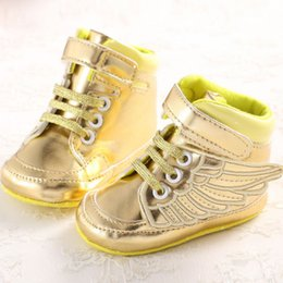 Wholesale 2016 Toddler Baby Shoes PU Leather Prewalkers Lovely Wings Newborn Kids First Walker Shoes Canvas Soft Sole Bottom Crochet Booties Babies