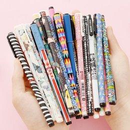 24 pcs Lot Japanese zakka printing Gel pen 0.35mm black ink school pens Stationery Canetas escolar Office accessories 6869
