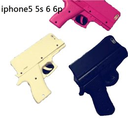 Wholesale New European and American style black red white cool style handgun security control case cover for iphone s plus