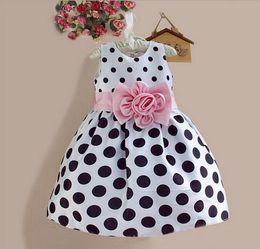 2016 New Stylish Kids Toddler Girls Princess Dress Sleeveless Polka Dots Bowknot Dress! 2 color Top quality navy blue white