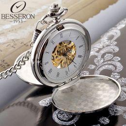 Wholesale Modern Engraved Mechanical Pocket Watch Silver Luxury Brand Watch Round Vine Necklace Watch Hot Sale Stainless steel Antique