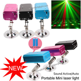Wholesale 2016 Lastest Red Green Mini Stage Laser Light Christmas Led Light With Built in Battery Dance Floor Lights Laser party light