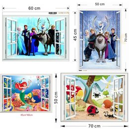 Wholesale 100pcs ZY1417 Mermaid window wall sticker frozen stickers family nursery wall stickers for kids room cartoon wall decal