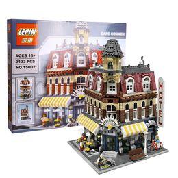 Wholesale 2133Pcs New LEPIN Creators Cafe Corner Model Building Kits Minifigure Blocks Kid Toy Gift Compatible With Legoe
