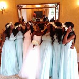 Arabic New Plus Size One Shoulder Long Bridesmaid Dresses Light Sky Blue Wedding Party Dresses Beach Summer Bridesmaids Gowns