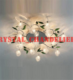 Wholesale LED Ceiling Light Modern Green Leaves Light Crystal Ball Ceiling Light Aluminium Wire Ceiling Lamp Living Room Chandelier lights