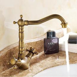 Wholesale New Arrivel Bathroom Antique Brass Faucet Fashion wash basin faucet Cold Hot water Dual Handle basin faucet