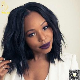 Short Bob Peruvian Human Hair Full Lace Wig Natural Wave Lace Front Human Hair Wigs with Bangs for Black Women
