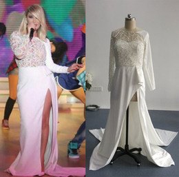 Real Images Nancy Ajram Side Split Evening Dresses with Long Sleeves Beaded Bodice Sheer Runway Celebrity Gowns