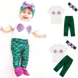 Wholesale Baby Suits Mermaid set T shirt and Pants and Hair Band Clothes Child Kids Paillette Set Girls XMAS Gifts WX C37