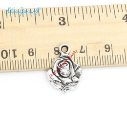 18pcs Tibetan Silver Plated Rose Flower Charms Pendants for Bracelet Necklace Jewelry Making DIY Handmade Craft 20x14mm
