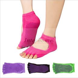 Wholesale Women Cotton YOGA Socks Anti Ski Socks Fitness Exercise Sports Socks Pilates Massage Socks Pilates Socks Five Toe Foot Gym Socks B565