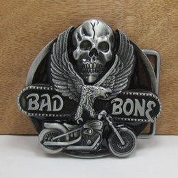 Wholesale Eagle motorcycle and the skull belt buckles unique Silver bad bone belt buckle Texas Western Buckle Retail company