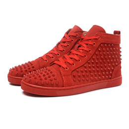 Red Pink Blue Suede High Top Studded Spikes Casual Flats Luxury Red Bottom Shoes Brand New For Men and Women Party Designer Sneakers